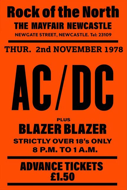 rare acdc gig poster