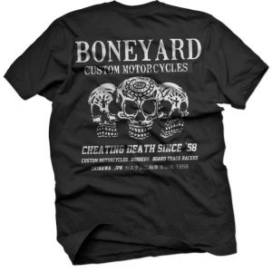 boneyard biker skull t shirt